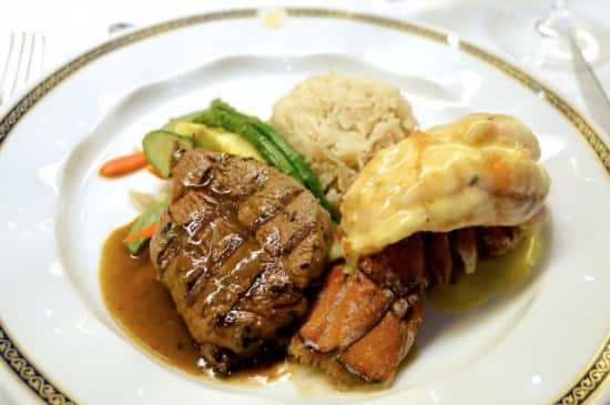 Surf and turf in the main dining room.