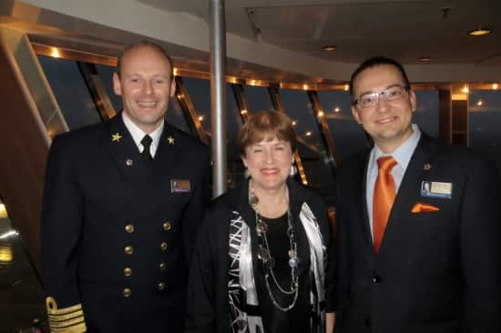 Captain Arno Jutten, Sharon and Cruise Direct Michael Harvey.