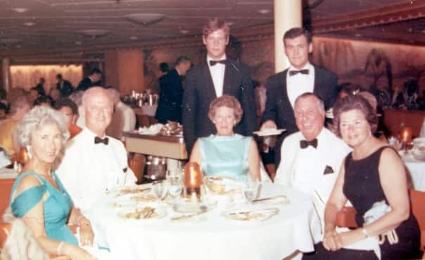 Dining room stewards Bernard Oost, right, and Adolf Eitzenberger on Statendam in 1969.