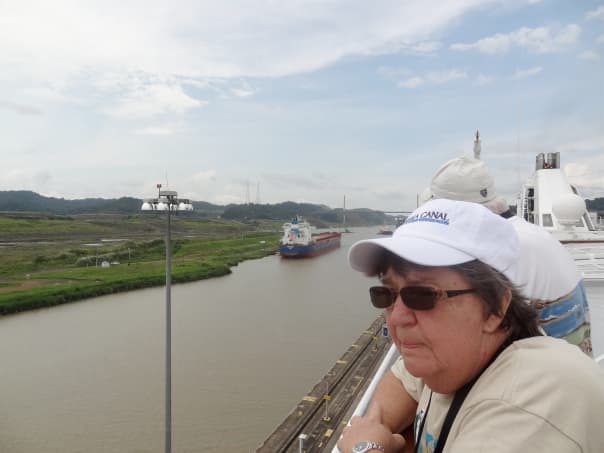 Julie Hinman captures her mom, Jan, in a pensive moment as they transit the Panama Canal.