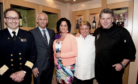 De Librije debuted on ms Rotterdam in May of 2013. From left: Hotel Director Mike Mahn, HAL's Senior Director of Sales North & Central Europe Nico Bleichrodt, Thérèse Boer, Master Chef Rudi Sodamin and Chef Jonnie Boer.