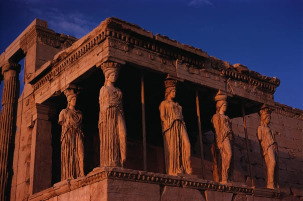 Athens becomes more beautiful as the sun sets.