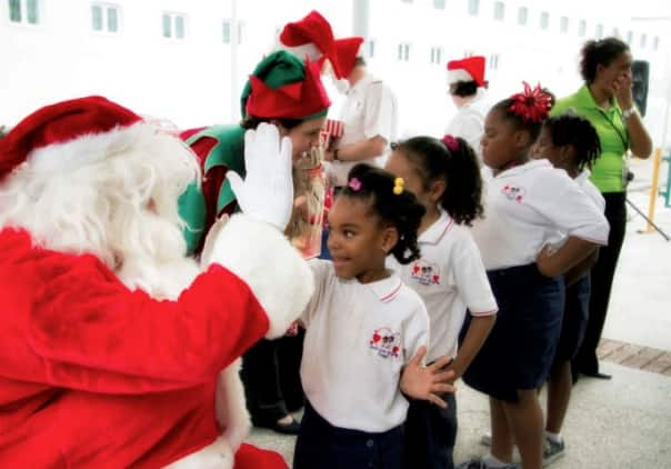 Noordam bringing Christmas to the kids of Curacao.
