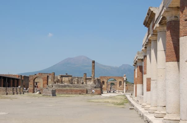 Pompeii Forum with mighty Vesuvius in the background.