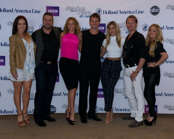 Dancing with the Stars professional and celebrities from left: Mulatu Niguse, Joey Fatone, Kym Johnson, Tristan MacManus, Emma Slater, Carson Kressley and Sabrina Bryan.