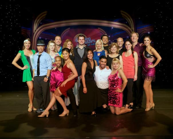 The Top 10 guest competitors and their dance partner instructors from the ship's showcast.