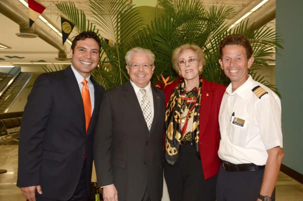 Cruise Director Gene Young, Gerald Bernhoft, President's Club Mariner Ellen Wolf and Hotel Director Henk Mensink.