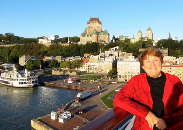 Sharon with lower town and the Chateau Frontenac as seen from Maasdam.