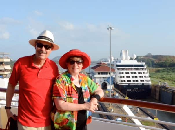 Al and Sharon going through the Miraflores Locks.