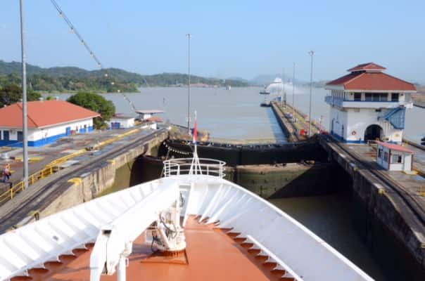 Going through the Pedro Miguel Locks.