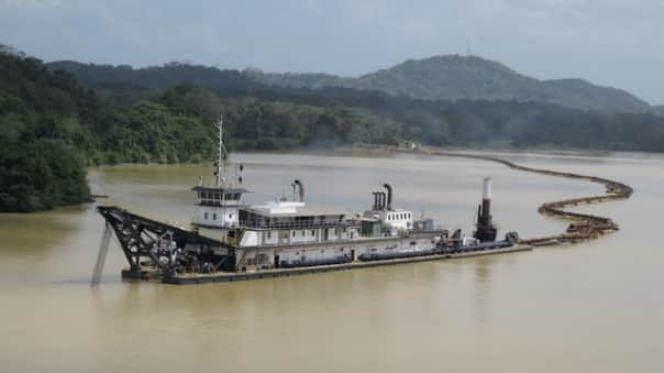 Suction dredge in the Panama Canal.