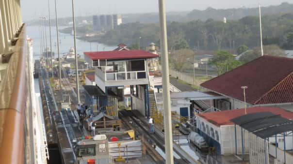 The ship in the Panama Canal.