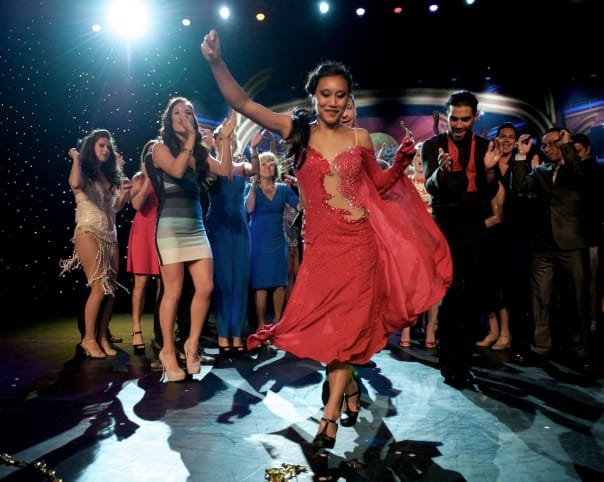 "Allyse celebrating her ""Dancing with the Stars: at Sea"" win!"
