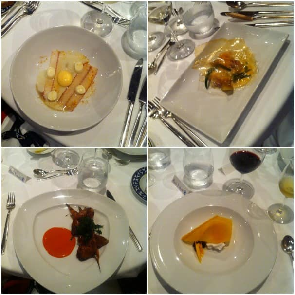 Clockwise from top left: smoked eel, bass grouper, red gate farm quail and mango mustard and coconut.
