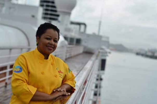 Chef Gomez on the deck of Westerdam.