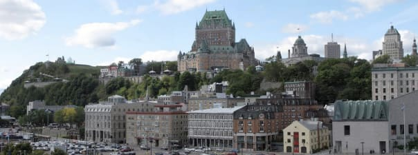 This is a panoramic photo consisting of four images of Quebec City taken from the deck of the ms Maasdam. — Dave Mandell