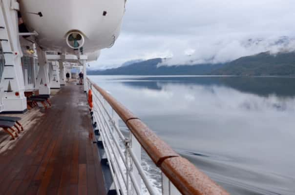 Promenade Deck on  Prinsendam as the ship departs from Amalia Glacier on the Sarmiento Channel.