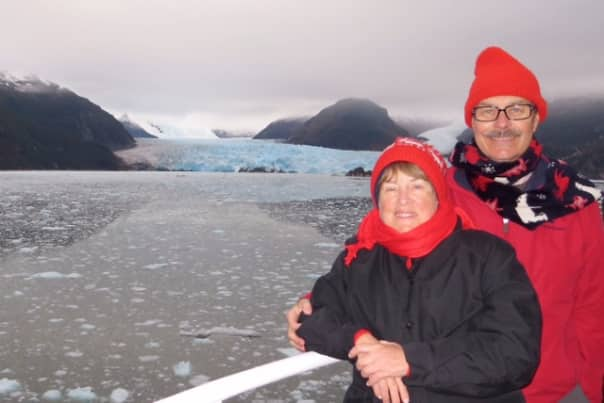 Sharon and Al enjoying the view of the Chilean Fjords.