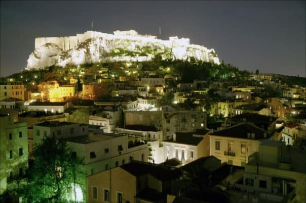 Athens' Acropolis lights up the night.