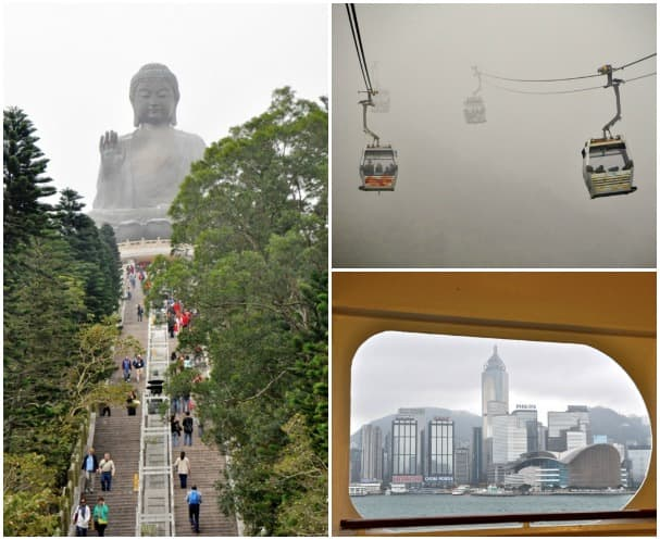 Clockwise from left, the buddha at Lantau Island, the ride up to the buddha, and Hong Kong as seen from the Promenade Deck on Amsterdam.