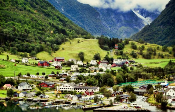 A colorful village on Hardangerfjord, courtesy of Liz Lewis.