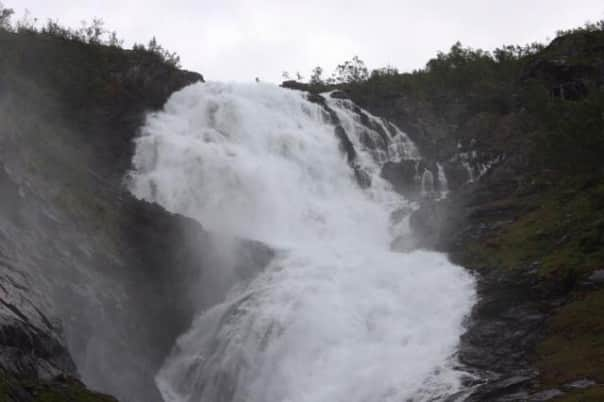 Kjosfossen Waterfall at Flam, Norway. Photo courtesy of guest Miriam M.