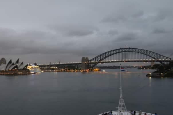 Approaching the Sydney Opera House along with the Sydney Harbour Bridge.