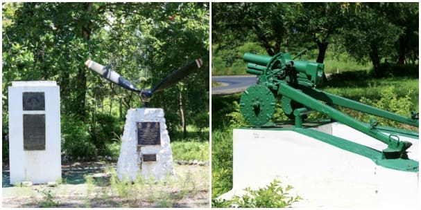 Monuments from the WWII battle.