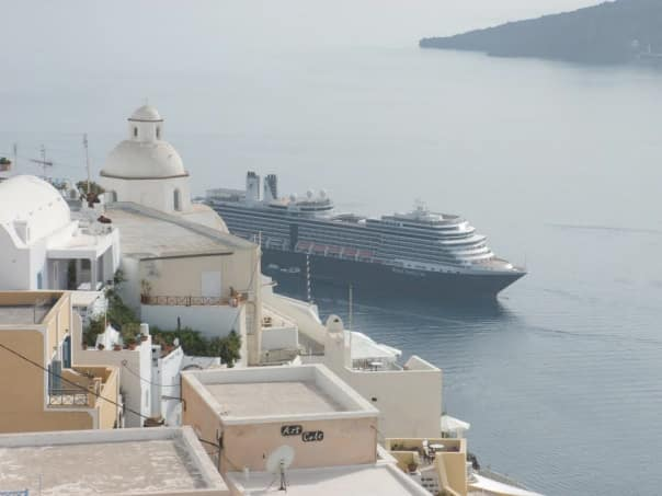 Eurodam as seen from the top of Santorini, Greece. Photo by guest Carol. W.