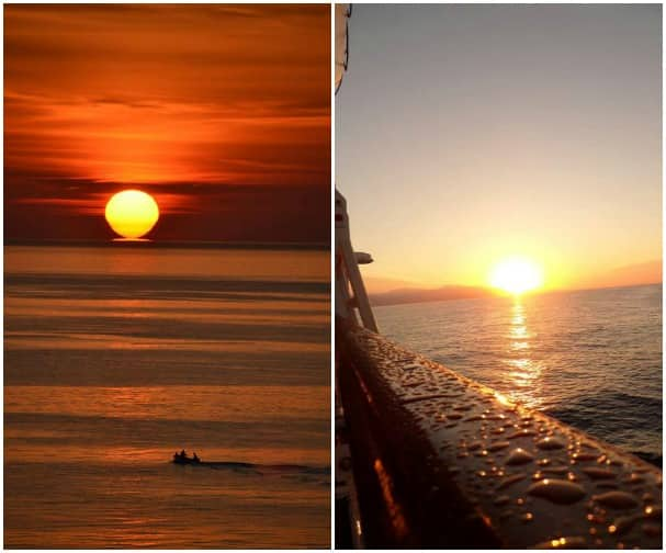 The Mediterranean's gorgeous sunsets by Doug K, left, and Nancy L.