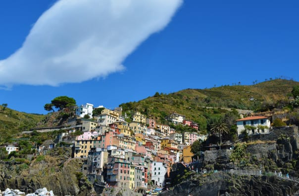 Looking up at Cinque Terre, Italy. Photo courtesy of guest Talina T.