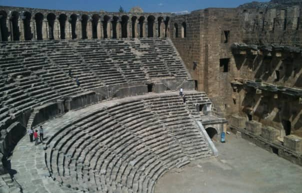 The amphitheater at Aspendos, Turkey, as seen from the port of Antalya, is considered the most well-preserved in the world.