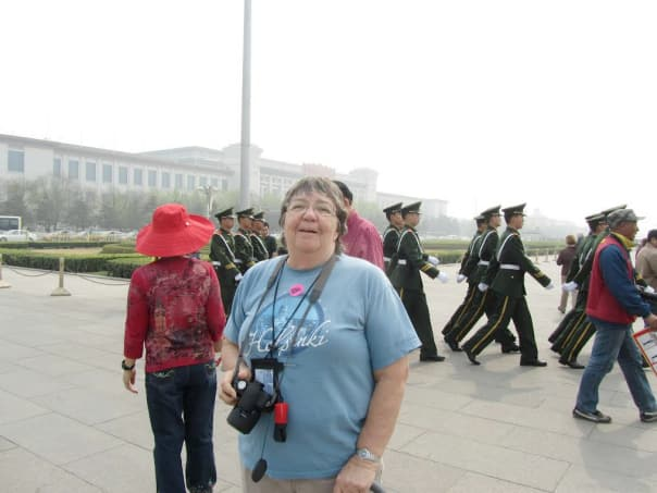 Jan at Tin'anmen Square during her call at Beijing.