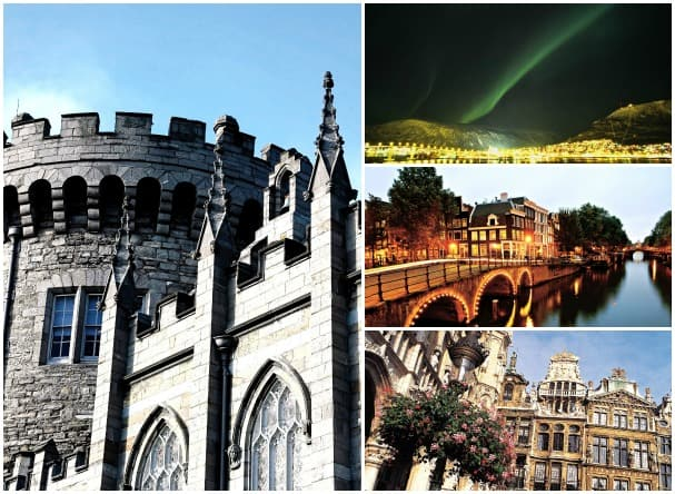 On Prinsendam's Collectors' Voyage, guests visit diverse ports such as (clockwise from left) Dublin, Ireland; Tromso, Norway; Amsterdam, the Netherlands; and Brussels, Belgium.