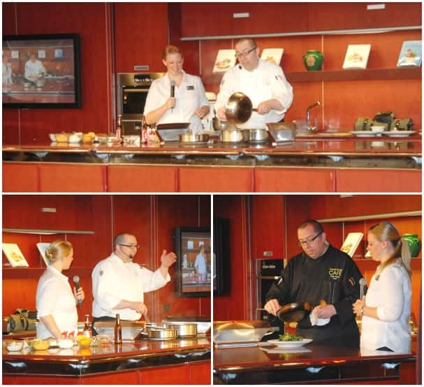Chef Szilak during his cooking demonstration in the Culinary Arts Center.