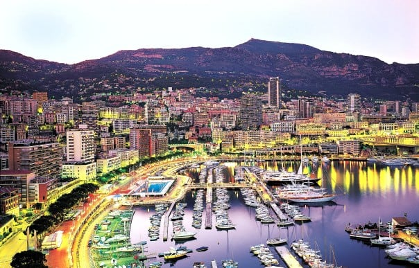 At dusk, Monte Carlo sparkles brightly in dazzling jewel-toned hues.