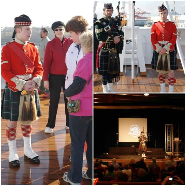 In addition to performing in the ship's show lounger, the Halifax Citadel Highlander and piper enjoy chatting with guests while onboard.