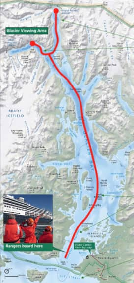 A typical cruise ship route in Glacier Bay.