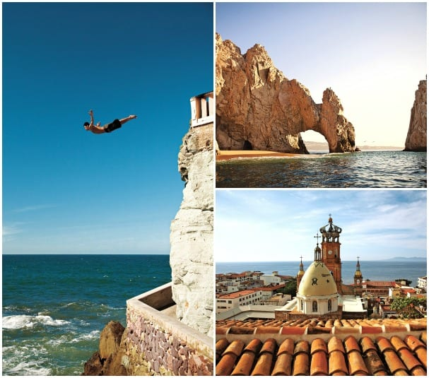 """Clockwise from left: Divers soar from the cliffs in Mazatlan, Cabo's famed """"El Arco"""" and beautiful Puerto Vallarta from the rooftops."""
