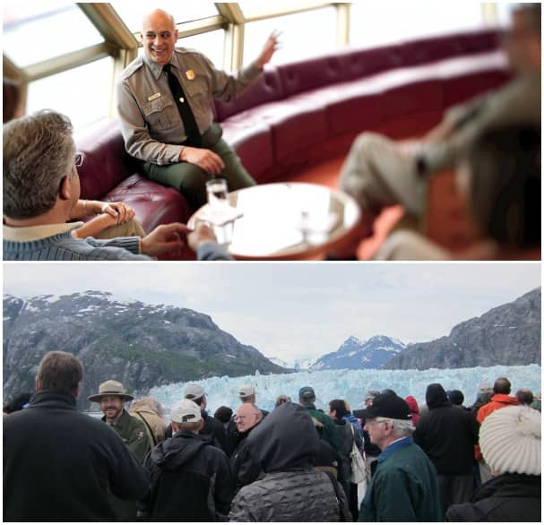 While onboard, park rangers chat with guests causally sitting in the lounges and while on deck viewing the glaciers.