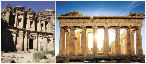El Deir Monastery at Petra, Jordan, left, and the Acropolis at Athens, Greece, are two examples of the incredible architecture found in port along the Grand World Voyage.