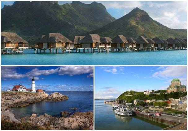 Christine Harder's photo (top of collage) was taken in Bora Bora, while Charlene Compson's (left) and Pat Cromwell's (right) submissions both featured shots from New England cruises.