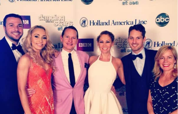 "HAL welcomes back ""Dancing with the Stars: At Sea"" fan favorites, featured are (beginning second from left): Iveta Lukosiute, Carson Kressley, Kym Johnson and Tristan McManus with (far left) DWTS: At Sea Host Jason Venner and (far right) DWTS Producer Shauna O'Brien."
