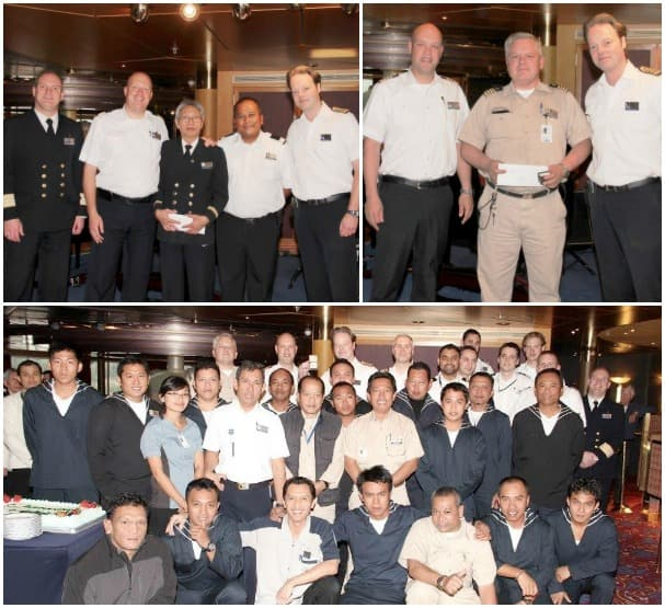 Franciscus Setiabudi, center, top left photo, celebrated 30 years with Holland America Line, while Piet Westerhius reached 20 years. Many in the bottom photo were celebrating their 15-year anniversary.