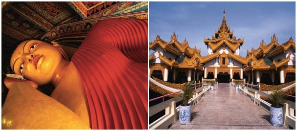 Guests can visit the reclining Buddha in Sri Lanka, left, and beautiful temples in Myanmar.