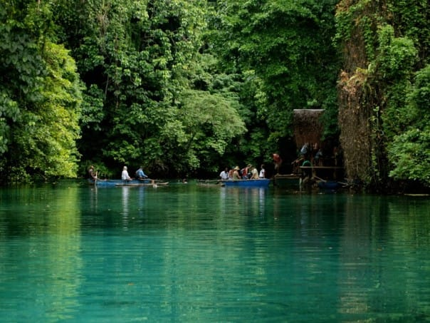 The Blue Lagoon at Luganville, Vanuatu, can be reached with a picturesque canoe ride.