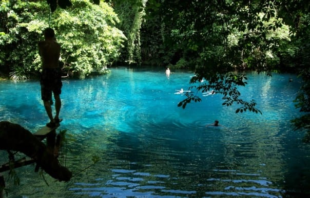 The South Pacific is made up of lush paradisiacal islands and clear blue water, like the Blue Lagoon on Vanuatu.