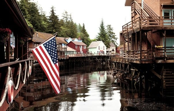 The U.S. flag flies proudly at Ketchikan, Alaska.