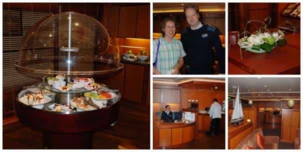 "Photos by Sofia Burns. Clockwise from left : A snack display; Sofia and Captain van Hoogdalem; floral details; a view of the lounge; ""the sweet butterfly Vanessa"""