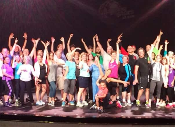 Guests participated in fun fitness classes led by Kym Johnson. Photo shared on Twitter by @kym_johnson.
